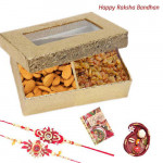 Delightful Treat - Almonds, Raisin with 2 Rakhi and Roli-Chawal