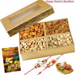Crunchy Delight - Assorted Dry Fruit box 500 gms with 2 Rakhi and Roli-Chawal