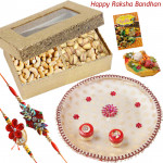 Elegant Thali Combo - Cashew & Pista, Puja Thali (W) with 2 Fancy Rakhis and Roli-Chawal