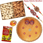 Cashew with Almonds Thali - Cashew & Almonds, Puja Thali (O) with 2 Rakhi and Roli-Chawal