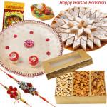 Sweets with Thali - Assorted Dry Fruits, Kaju Katli , Puja Thali (W) with 2 Rakhi and Roli-Chawal