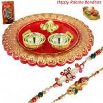 Designer Ganesh Thali - Designer Ganesh Thali with 2 Rakhi and Roli-Chawal