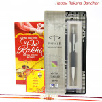 Something Special Gift - Parker Vector Standard Ball Pen with 2 Rakhi and Roli-Chawal