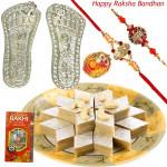 Luck & Delight - Silver Laxmi Step Pair - 6 gms + Kaju Katli with 2 Rakhi and Roli-Chawal