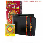 Elegance Personified Gift - Leather Men's Wallet with 2 Rakhi and Roli-Chawal