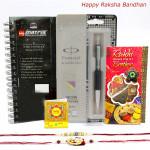 Parker Hamper - Parker Vector Standard Ball Pen, Bilt Matrix Dairy with 2 Rakhi and Roli-Chawal