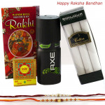 For Best Bhaiya - Axe Deo, Bonjour Set of 3 Cotton Hankerchiefs with 2 Rakhi and Roli-Chawal