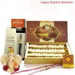 Smart Combo - Kaju Katli, Parker Beta Premium Ball Pen, Ganesh Idol with 2 Rakhi and Roli-Chawal