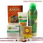 Perfect Gift Set - Garnier Face Wash, Moisturizer, Rassasi Deo 200 ml with 2 Rakhi and Roli-Chawal