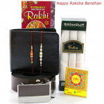 All for Brother - Black Leather Wallet + Brown Leather Belt + Bonjour Set of 3 Cotton Hankerchiefs with 2 Rakhi and Roli-Chawal