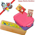 For School - Tiffin Box + Pencil box with 1 Cute Krishna Rakhi and Roli-Chawal