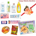 For Little ones - Flo-Rite Baby Rattle Set + Johnson Hamper with 1 Stylish Hanuman Rakhi and Roli-Chawal