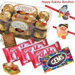 Choco Trove - Ferrero Rocher 16 pcs, 3 Kitkat, 1 Gems with 1 Cute Krishna Rakhi, 1 Stylish Hanuman Rakhi and Roli-Chawal