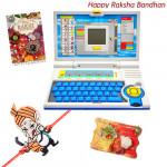 Fun & Learn - English Learner Laptop with 1 Ganesha Rakhi and Roli-Chawal