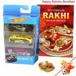 Hotwheels Delight - Hotwheels set of 3 Cars with 1 Ganesha with Football Rakhi and Roli-Chawal