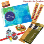 Kids Surprise - Celebrations, 2 Toblerone, 2 Temptations with 1 Cute Krishna Rakhi and Roli-Chawal