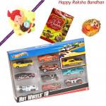 Kids Love Hamper - Hotwheels set of 10 Cars with 1 Ganesha Rakhi and Roli-Chawal