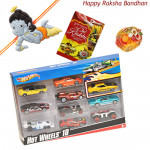 Kids Love Hamper - Hotwheels set of 10 Cars with 1 Natkhat Krishna Rakhi and Roli-Chawal