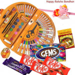 Kids Sweet Gifts- Skykids Coloring Kit 56 pcs, 3 Kitkat , 1 Gems, 2 Dairy Milk, with Adorable Ganesha Rakhi and Roli-Chawal