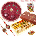 Enticing Combo - Kaju Mix, Puja Thali (M) with 2 Rakhi and Roli-Chawal