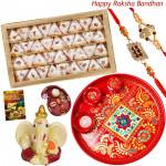 Kaju Pan Thali - Kaju Pan, Meenakari Thali 6 inch, Ganesh Idol with 2 Rakhi and Roli-Chawal