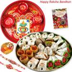 Kaju Mix Thali - Kaju Mix, Meenakari Thali 6 inch with 2 Rakhi and Roli-Chawal