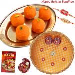 Kaanpuri Ladoo Thali - Kaanpuri Ladoo, Puja Thali (O) with 2 Rakhi and Roli-Chawal