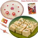 Soan Papdi Thali - Soan Papdi, Puja Thali (W) with 2 Rakhi and Roli-Chawal