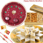 Sweet Dry Thali - Kaju Katli, Assorted Dry Fruits, Puja Thali (M) with 2 Rakhi and Roli-Chawal