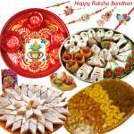 "Royal Treat - Kaju Katli 500 gms, Kaju Mix 500 gms, Assorted Dryfruit Basket 500 gms, Meenakari Thali 6"" with Set of 5 Rakhis(1 Sandalwood, 1 Auspicious, 1 Pearl, 1 Kids Rakhi and 1 Lumba Rakhi) and Roli-Chawal"