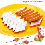 Sweetened Affections - Kaju Kesar Katli with 2 Rakhi and Roli-Chawal