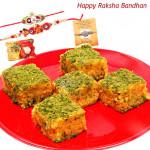 Badam Sentiments - Badam Barfi with 2 Rakhi and Roli-Chawal