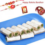 For Sweetest Brother - Kaju Pista Rolls with 2 Rakhi and Roli-Chawal