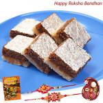 Delightful Combo - Anjir Barfi with 2 Rakhi and Roli-Chawal