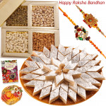 Tasty Sweets Arrangement - Kaju Katli, Assorted Dry Fruits 200 gms with 2 Rakhi and Roli-Chawal