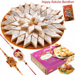 Sincere Blessings - Kaju Katli, Soan Papdi with 2 Rakhi and Roli-Chawal
