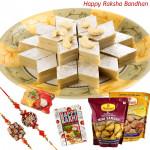 Sweet & Namkeen - Kaju Katli, Haldiram Namkeen 2 pck, 2 Rakhi and Card