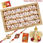 Festive Treat - Kaju Pan, Ganesh Idol with 2 Rakhi and Roli-Chawal