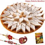 Wonderful Treat - Kaju Katli with 2 Rakhi and Roli-Chawal