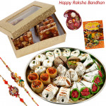 Special Sweet Hamper - Kaju Mix, Dry Fruit Chikki 250 gms with 2 Rakhi and Roli-Chawal