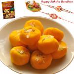 Awsome Sweets - Kesar Peda with 2 Rakhi and Roli-Chawal