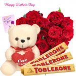 "Red Heart - Heart of 30 Red Roses, Teddy with Heart 8"", 3 Toblerone 50 gms and Card"