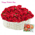 Red Roses Basket - 50 Red Roses Basket and Card
