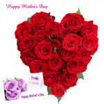 Red Roses Heart Arrangement - 25 Red Roses Heart Arrangement and Card