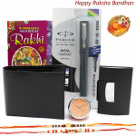 To Brother - Leather Black Wallet, Table Clock, Parker Beta Standard Ball Pen, Visiting Card Holder with 2 Rakhi and Roli-Chawal