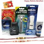 Gillette For Bro - Gillette Series Shave Gel, Gillette Vector Razor, Gillette Shave Brush, Gillette Series After Shave Splash with 2 Rakhi and Roli-Chawal