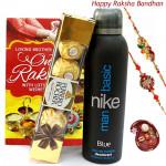 Orignal - Ferrero Rocher 4 Pcs, Nike Original Deodorant Spray with 2 Rakhi and Roli-Chawal