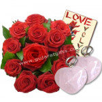 Say - You Care - 12 Red Roses + Rose Quartz Heart + Card