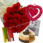 Miss U - 25 Red Roses Bunch + Heart-In-Heart Teddy + 2 Temptations + Cake 1/2kg + Card