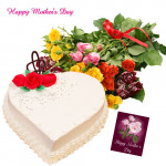 Rose Bunch N Cake - Bunch of 20 Mix Roses, Vanilla Heart Cake 1 kg and Card